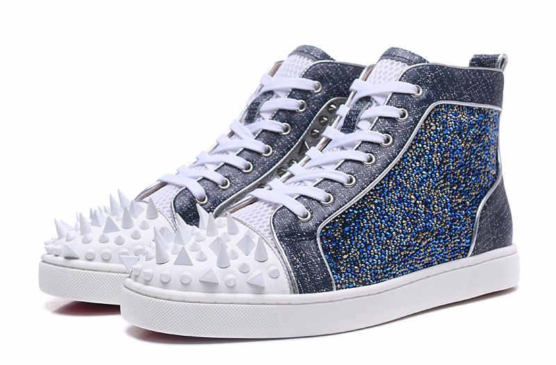 New Fashion Irregular White Spikes Toe Men Hot High Tops Luxury Blue  Crystal Cover Gentleman Dress 9067fc5cbe5b