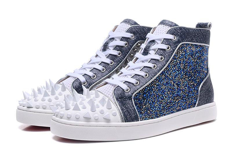 Новая мода нерегулярные белые шипы носок мужчины горячие Высокие Топы Роскошный Синий Кристалл Обложка джентльмен модельные туфли Вулкани