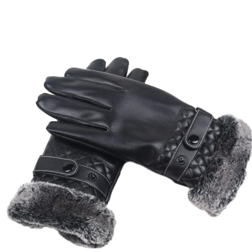 Autumn Winter Plus Cashmere Men Riding Long Leather Gloves PU Touching Screens Fur Cuffs Driving Gloves Guantes Luva Motociclist