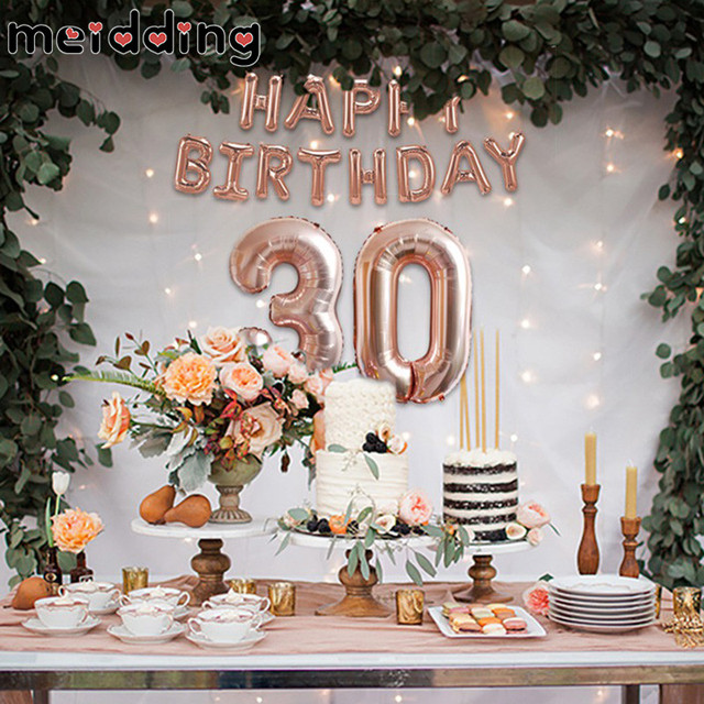 MEIDDING 30th Happy Birthday Rose Gold Balloon Sweet 16th 18th 21th 40 50 60th Decoration Adult Party Supplies