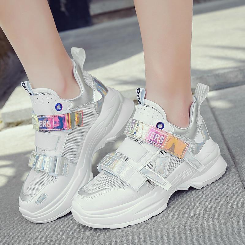 2019 printemps nouveau Chunky baskets femmes chaussures Harajuku décontracté papa chaussures respirant maille plate-forme baskets blanc baskets