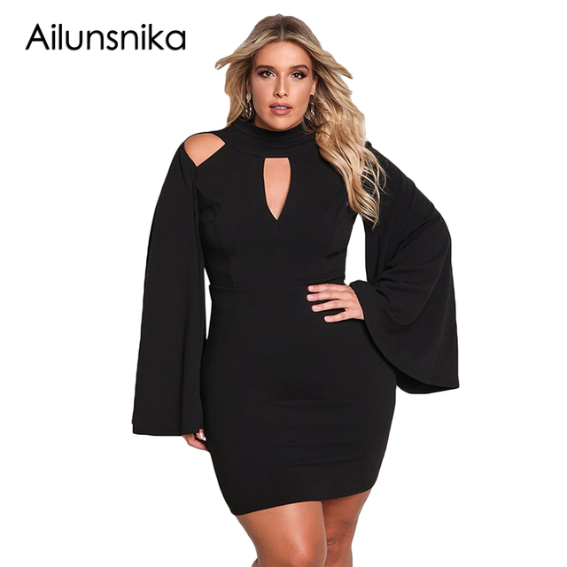 6b437f371a2cf Ailunsnika Women Plus Size Party Dress Cut Out Cold Shoulder Bell Sleeve  Turtleneck Autumn Mini Black