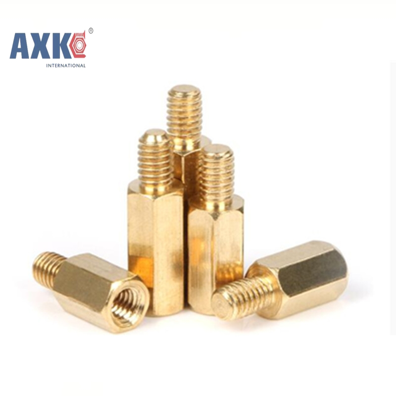 30Pcs M2.5/M3/<font><b>M4</b></font>+6mm Hex Nut Spacing Screw <font><b>Brass</b></font> Threaded Pillar PCB Computer PC Motherboard <font><b>Standoff</b></font> Spacer AXK040 image