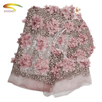 3D Lace Fabric 2019 High Quality Lace Pink African Lace Appliqued With Beaded Embroidered Lace Trim For Nigerian Wedding