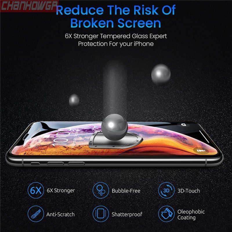 5D pełny klej zakrzywione szkło hartowane dla iPhone X XS Max XR 7 8 6 6s Plus szkło ochronne na iPhone 5 5S 5C SE ochraniacz ekranu