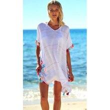 bf0314d4d0 2018 Summer Womens Striped Tassel Swimwear Bikini Beach Tunic Dress Wear Swimsuit  Cover Up Kaftan Ladies