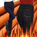 2017 de Inverno de Espessura de Veludo Quente Jeans Skinny Calças Lápis de Cintura Alta Azul Demin Calças Skinny Preta Calças Senhora Femme Pantalon
