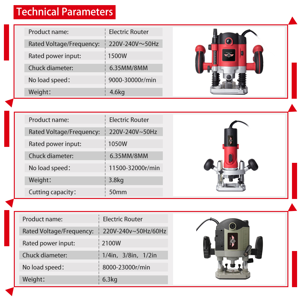 1500W 1/4in Woodworking Electric Router Trimmer Power Tool With Wood Milling Engraving Slotting 6.35mm Collet Carving Machine - 6