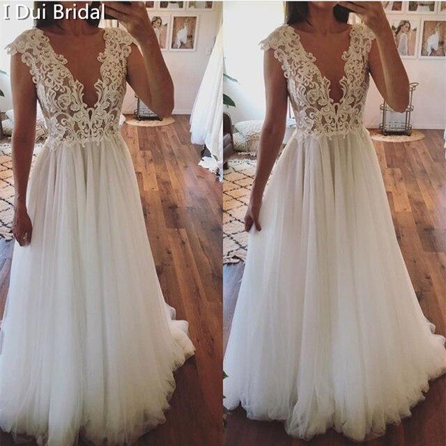 تغرق الرقبة الدانتيل فستان الزفاف خط الوهم الخلفي الاستقبال فستان زفاف 2020