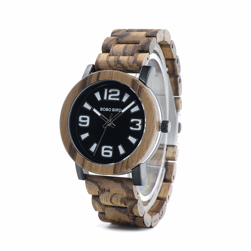Topdudes.com - Big Number Wooden Quartz Watches for Men with Wooden Box