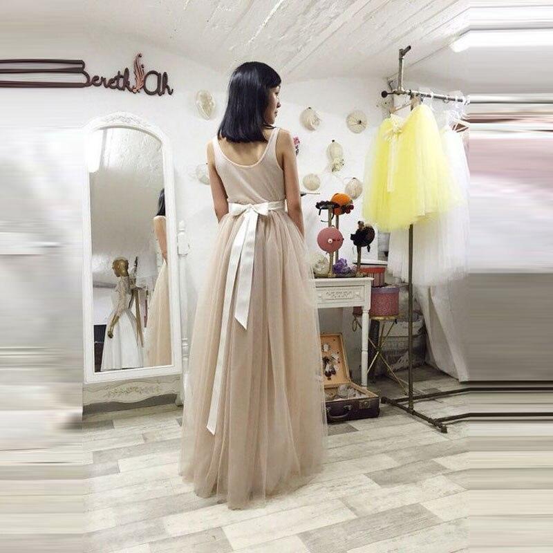 bf35b12cdc Fashion Casual Full Tulle Skirt White Ribbon Waistline A Line Floor Length  Long Maxi Skirt Personalized Tutu Skirts Women
