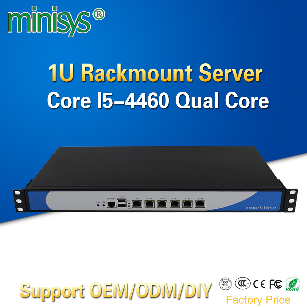 Minisys 1U Rack Firewall Cloud Computer Network Server Intel I5 4460 Quad Core 6 Lan Aluminum Case Pfsense Router Support 2*SFP