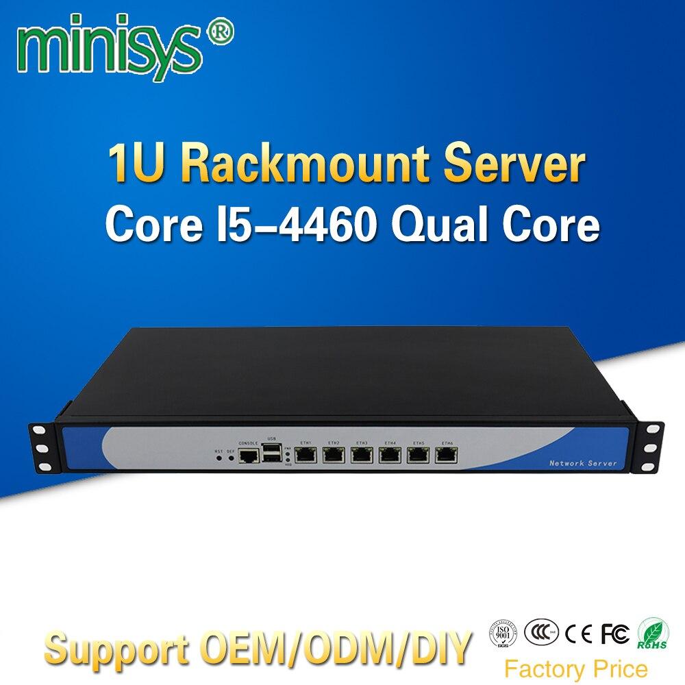 Minisys 1U Rack Firewall Cloud Computer di Rete del Server Intel i5 4460 Quad Core 6 Lan Caso di Alluminio Pfsense Router di Sostegno 2 * SFP