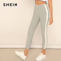 a16ed4ab3 SHEIN Grey Contrast Side Seam Heathered Crop Leggings Women High Waist  Colorblock Sporting Stretchy Fitness Workout
