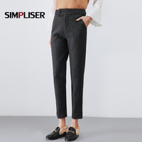 Wool Harem Pants Women Winter Mid Waist High Quality Ladies Pencil Pants Black Femme Pantalon Plus Size 4XL 3/4 Pants Women