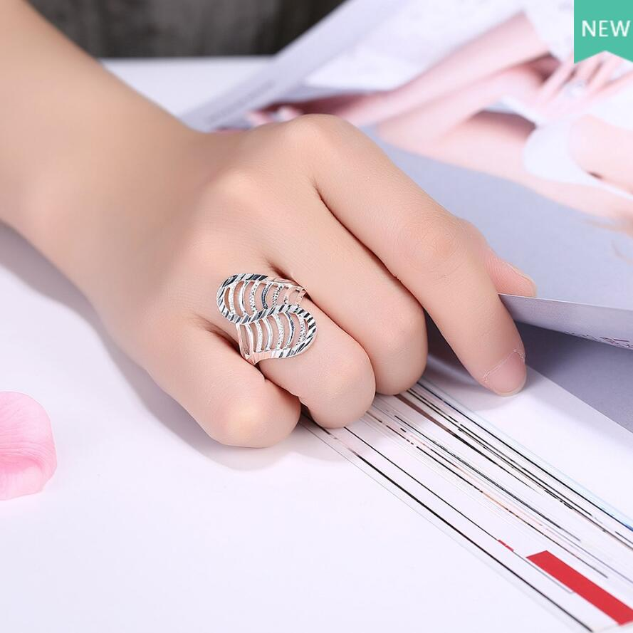 Hot Silver Color Angel wing Rings Hollow Unique Wedding Rings For ...