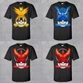 Pokemon Ir Hombres camiseta Equipo de Valor Místico Instinto Hombres Corto manga Del O-cuello T shirts 2016 Nuevos Hombres De Manga Corta T camisas
