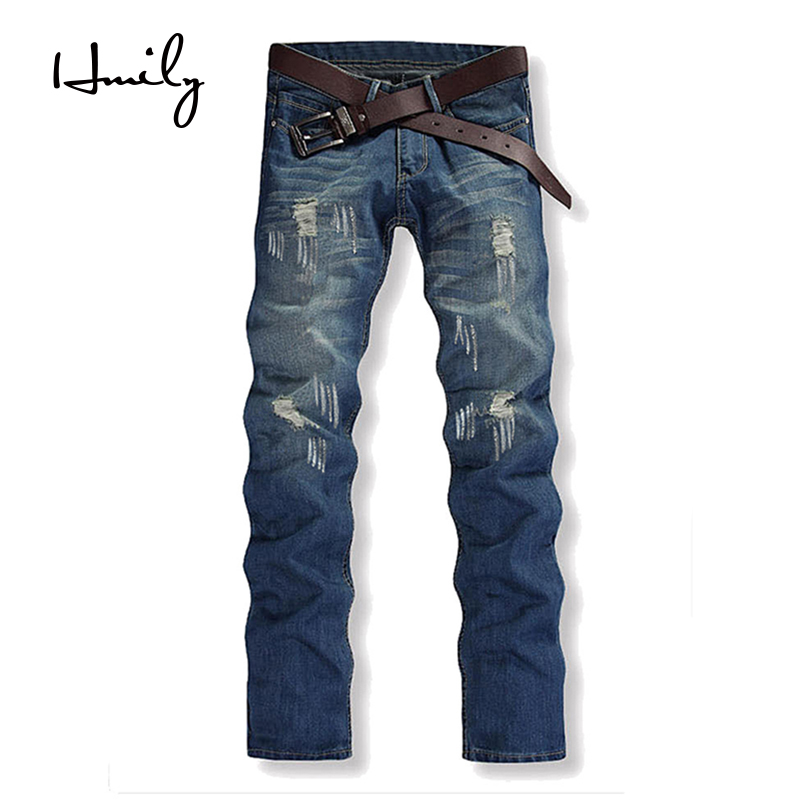 HMILY Plus Size 42 Mens Fashion Skinny Stretch Jeans Distressed Ripped Jeans Freyed Denim Trousers Cool Streetwear Pants