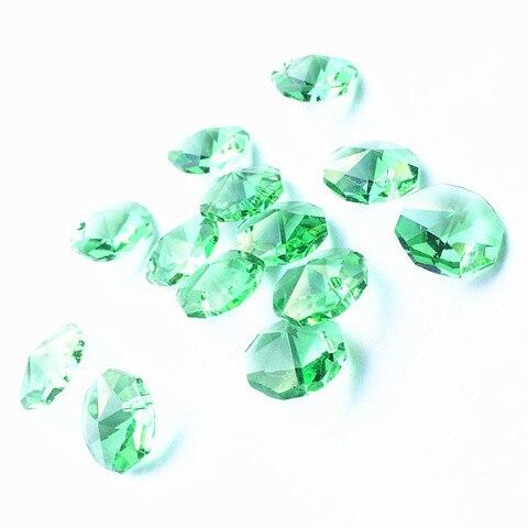 100 pcs lote 14mm maca verde lustre de cristal octagon beads em um buraco para