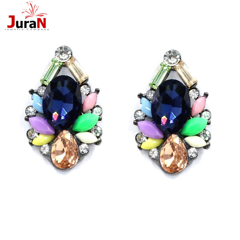 JURAN Womens fashion earrings New arrival brand sweet metal with gems stud crystal earring for women girls W3101