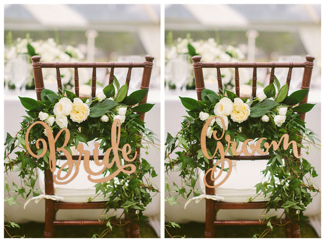 Bride And Groom Chair Signs Rustic Wedding Wooden Sign Wood Photo