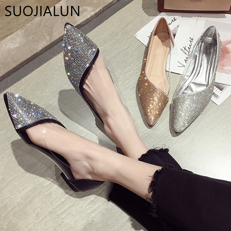 SUOJIALUN Fashion Women Flat Ballet Shoes Bling Crystal Pointed Toe Flats Shoes Elegant Comfortable Lady Shiny Flat Shoes