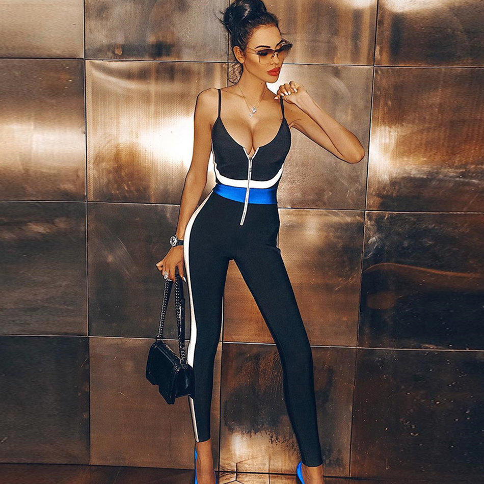 Couturière noir Sexy combinaisons femmes 2019 nouvelle mode sans manches été célébrité fête combinaison moulante barboteuse Skinny Clubwear-in Combinaisons from Mode Femme et Accessoires on AliExpress - 11.11_Double 11_Singles' Day 1