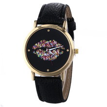 Really Cheap Causal Women's Girl's Watch Mouth Pattern Analog Hour Leather Buckle Quartz Wrist Watches Montre Femme Gift