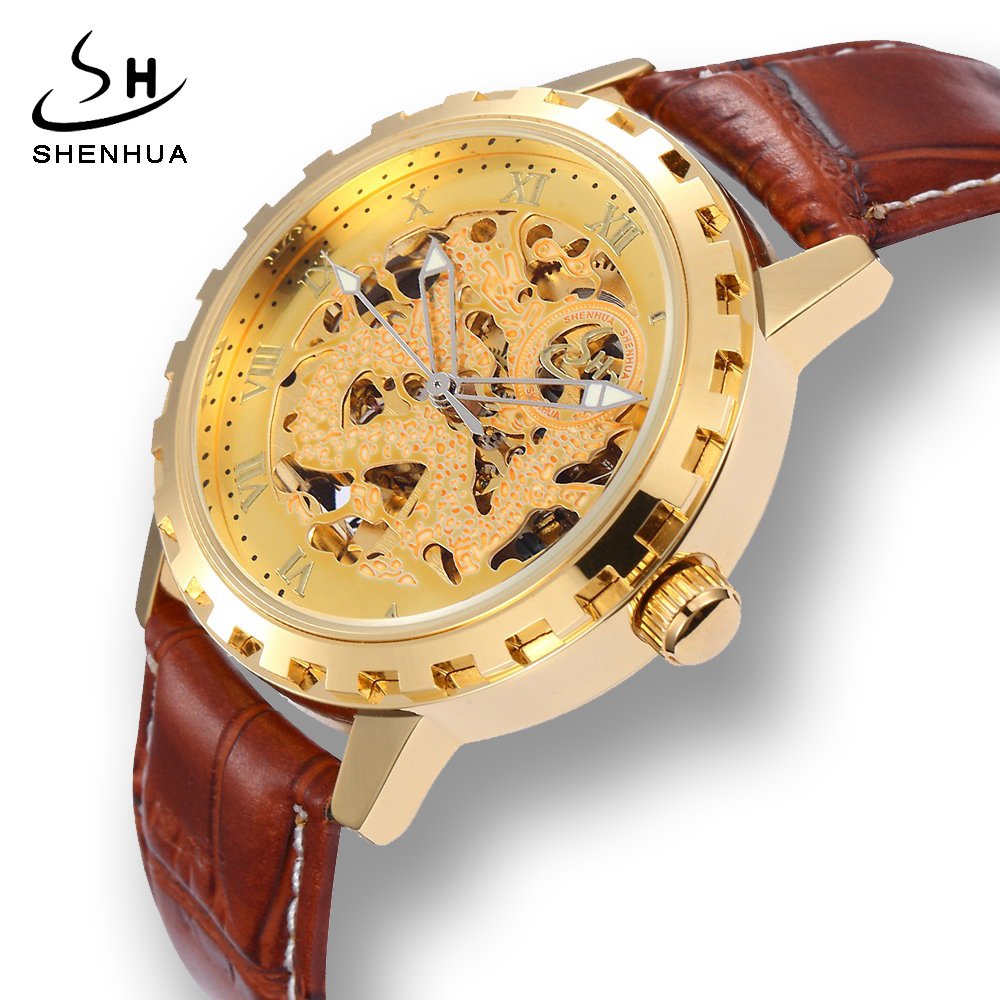 Shenhua 2018 Mens Skeleton Gold Dragon Transparent Automatic Self Wind Watch Men Leather Mechanical-Watches relogio automatico binger 2017 woman gold skeleton transparent self wind automatic watch elegant ladies black wrist watches female birthday gifts