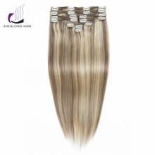 SHENLONG HAIR Malaysian 100% Remy Human Straight Hair Weaving #P14/22 Mixed Color  9pcs/set Clip In Hair Extensions 12 Colors