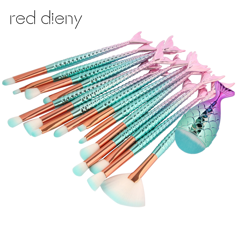 Pro 15pcs unquie Mermaid Makeup Brush Set Eyebrow Eyeliner Blush Blending Contour Foundation Cosmetic Beauty Makeup Brush Tool new design stamp seal shape face makeup brush foundation powder blush contour brush cosmetic facial brush cosmetic makeup tool