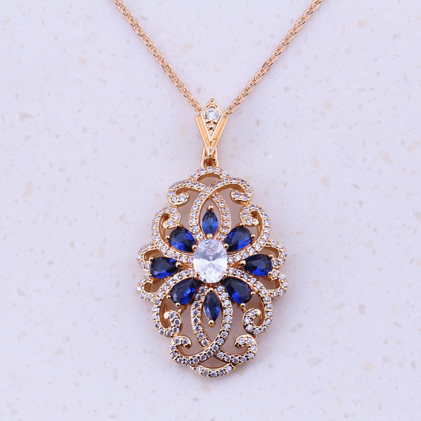 Gallant Blue Created Crystal & AAA Cubic Zircon Yellow Gold Color Women Wedding Pendant Necklaces Party Fashion Jewelry I0186