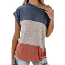 2019 Womens Summer Casual Tops Color Block T Shirts Loose Short Sleeve Tee