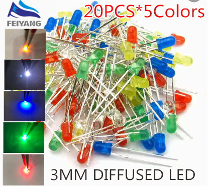 5 Colors X 20pcs 100pcs 5mm 4.8mm Straw Hat Led Diffused Kit 5 Mm 3v White Green Red Blue Yellow Punctual Timing
