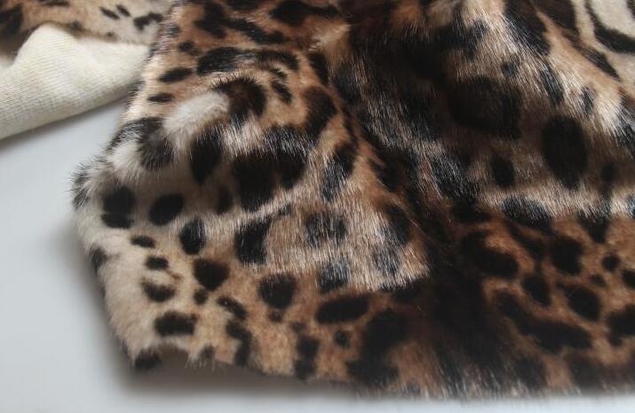 Moda leopardo largo pelo animal algodón felpa lana tela para abrigos textiles hechos a mano parches Jacquard grueso lentejuelas tela A347 - 3