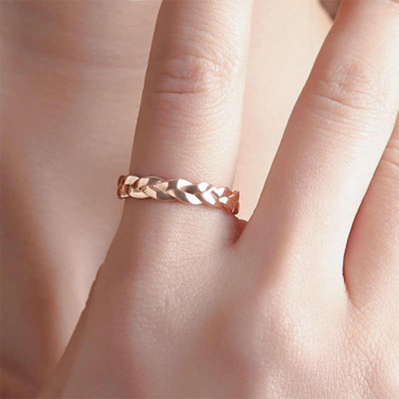 Creative Chain Ring Simple Winding Twist Rose Gold Ring for Female Fashion Popular Wedding Rings for Women Anillos mujer WD213
