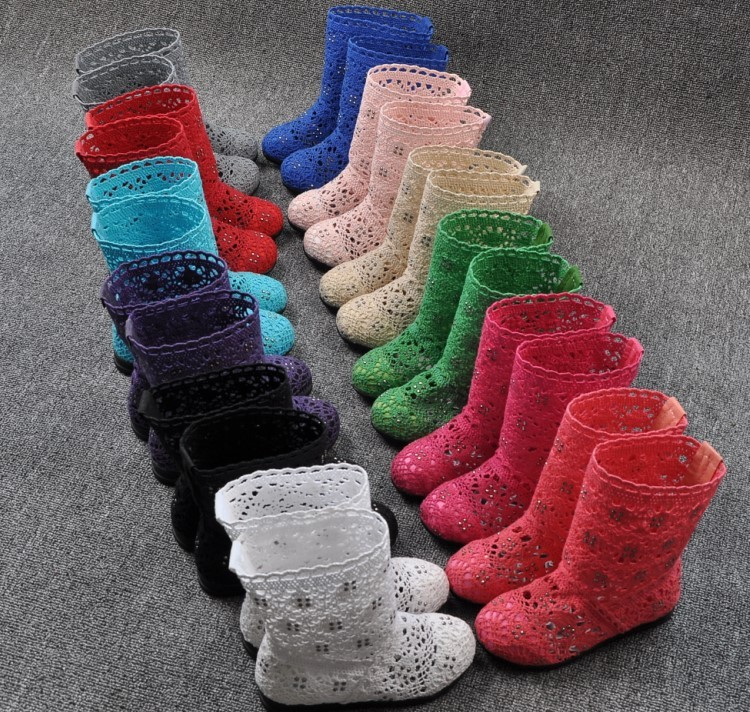(A241)18 Classical Kids Shoes Summer Girls Boots Knitting Hollow Children Shoes Fashion Network Boots For Girls 27