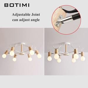Image 4 - BOTIMI خشبية LED الثريا لغرفة المعيشة الأبيض بريق غرفة نوم مصابيح الأسود Lustres خشبية مصابيح تعليق للزينة الإضاءة الطعام