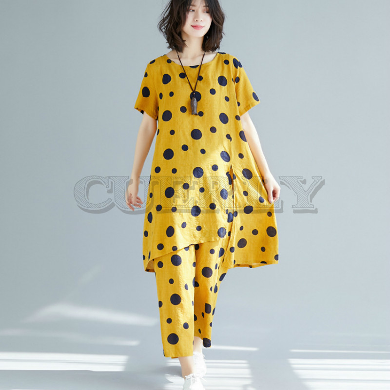 Cuerly 2019 vintage elegant clothes plus size 2 two piece set women casual loose midi summer dress wide leg pants sundress in Dresses from Women 39 s Clothing