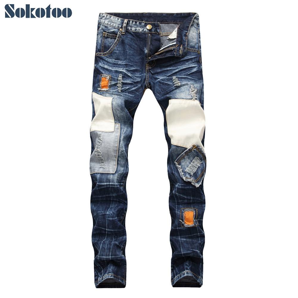 e953119d2 Comprar Pantalones vaqueros rectos rasgados de retazos para hombre Sokotoo  talla grande parches vintage agujeros vaqueros desgastados Online Baratos