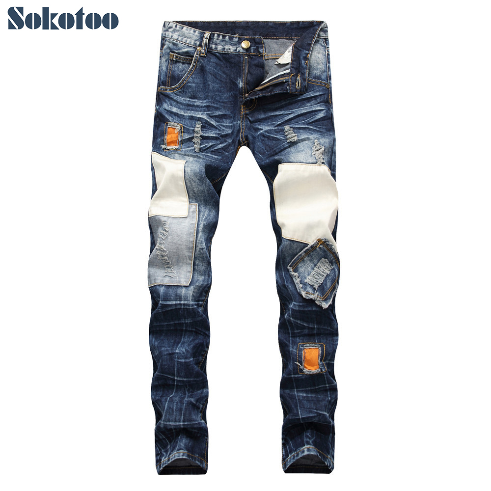 Sokotoo Men's patchwork ripped slim straight   jeans   Plus size vintage patches holes distressed denim beggar pants