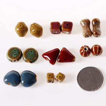 SEA MEW 50 Uds cuentas de cerámica de moda, cuentas con agujero para manualidades cuentas de porcelana hecho a mano para la fabricación de joyas