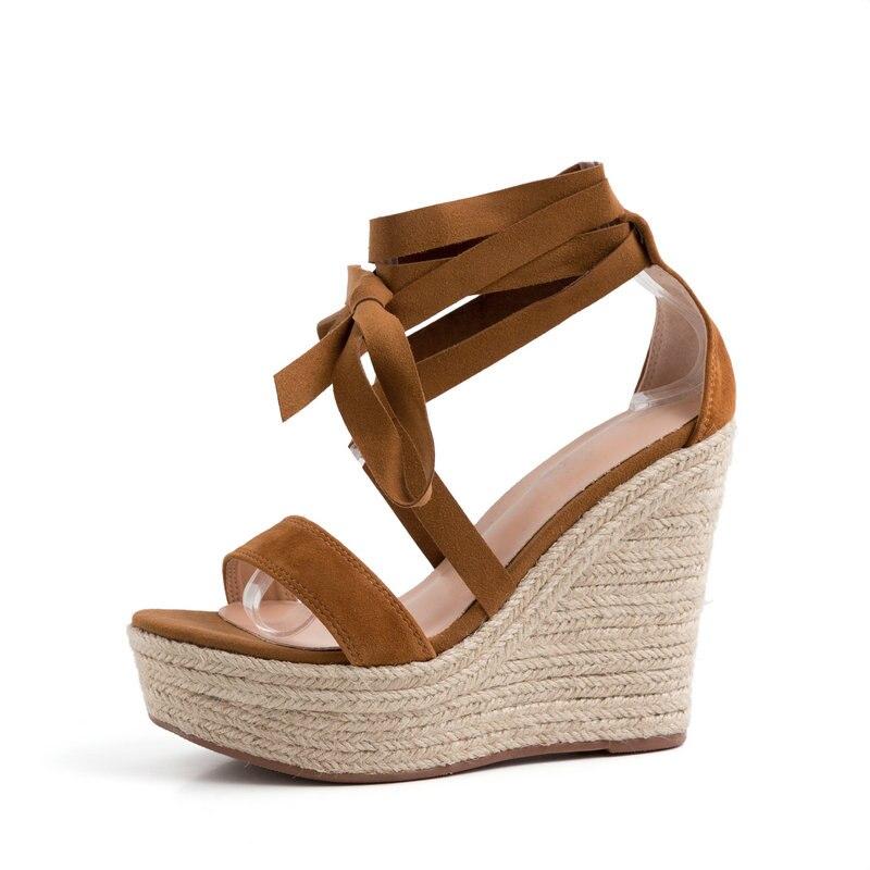 AIWEIYi หนังนิ่มหนังผู้หญิงรองเท้าแตะสีน้ำตาลสานรองเท้าส้นสูงเปิดนิ้วเท้ารองเท้าส้นสูง Lace Up ผ้าพันแผลสาวรองเท้าแตะ-ใน รองเท้าส้นสูง จาก รองเท้า บน   2