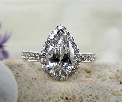 vintage pear shape pure white gold au750 ring 3ct drop female engagement ring solid white gold - Cheap Vintage Wedding Rings