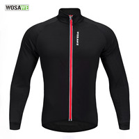 WOSAWE Soft Thermal Fleece Cycling Jersey Long Sleeve MTB Bike Bicycle Shirt Road Cycling Autumn Winter