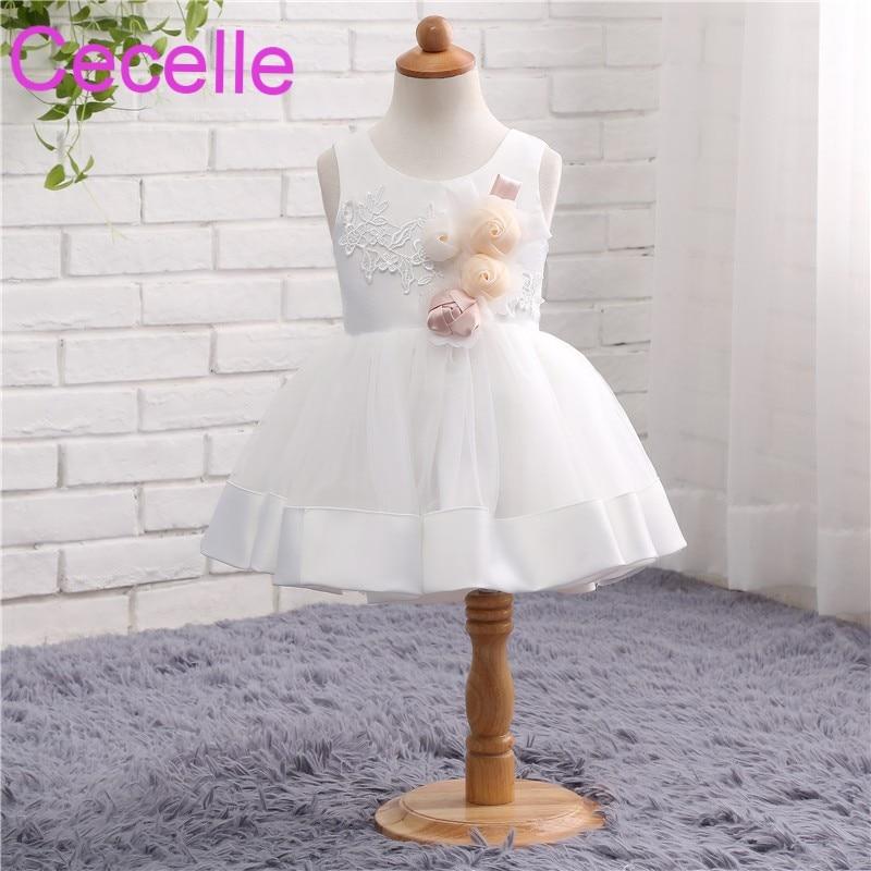 Ivory Short Satin   Flower     Girls     Dress   2019 For Wedding Sleeveless   Flowers   Little   Girls   Wedding Party   Dress   Cute