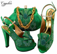 Capputine Hot Selling Italian Rhinestone Shoes And Bag Set Fashion High Heels Green Color Shoes And