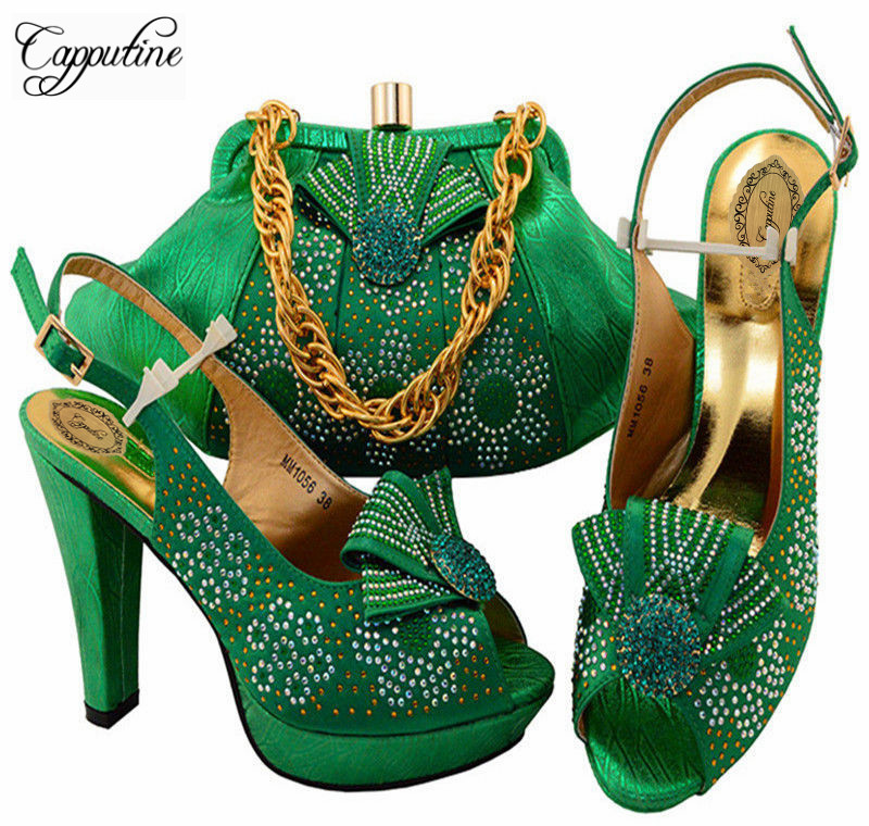 Capputine Hot Selling Italian Rhinestone Shoes And Bag Set Fashion High Heels Green Color Shoes And Bags Free Shipping MM10564 italian visual phrase book
