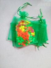 3000 unids Hierba verde del regalo del organza bolsas 10×15 cm bolsos de fiesta para las mujeres evento casarse Con Cordón bolsa de La Joyería pantalla Bolsa de accesorios de bricolaje