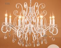 White crystal iron chandelier living room chandelier lamp restaurant study warm bedroom lighting chandelier children room